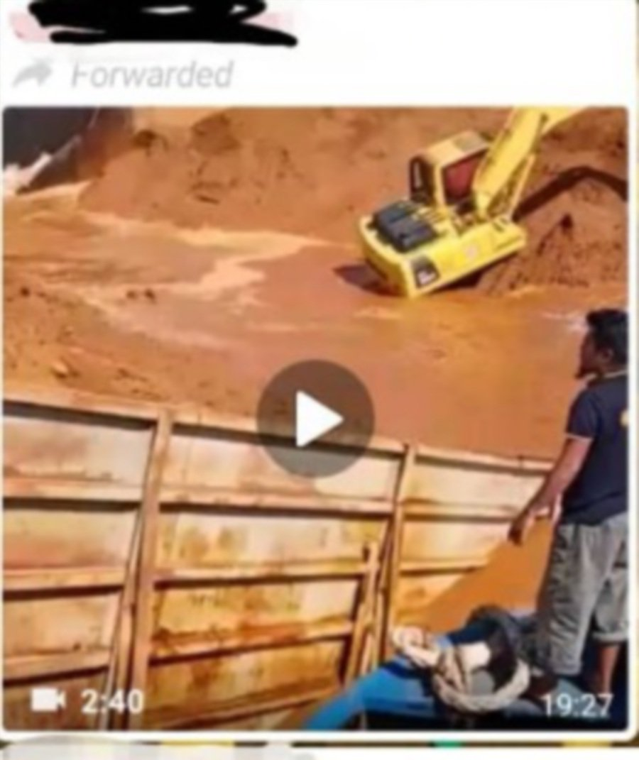 Viral videos of barge laden with red soil sinking at sea not from Malaysia