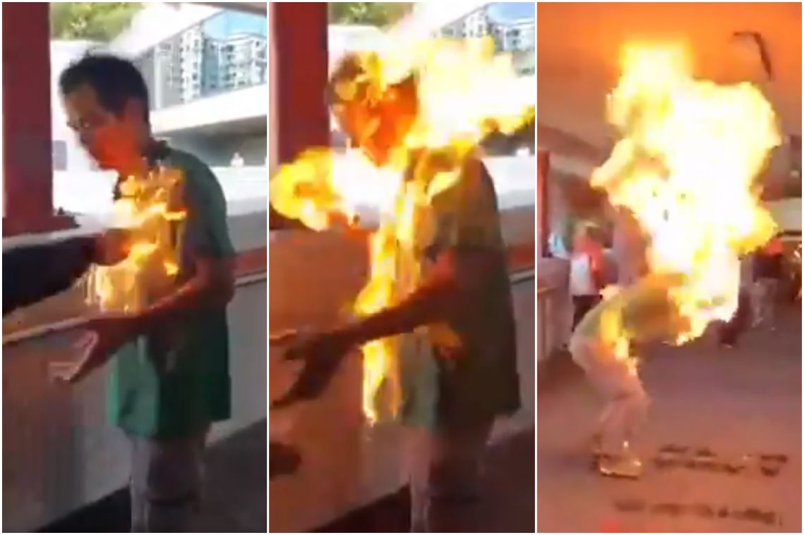 Hong Kong police say man set on fire after arguing with democracy protesters