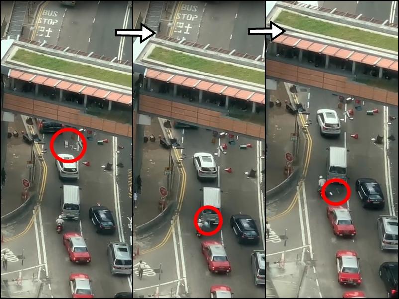 【大三罢】示威者港大附近天桥掟杂物 险击中电单车司机