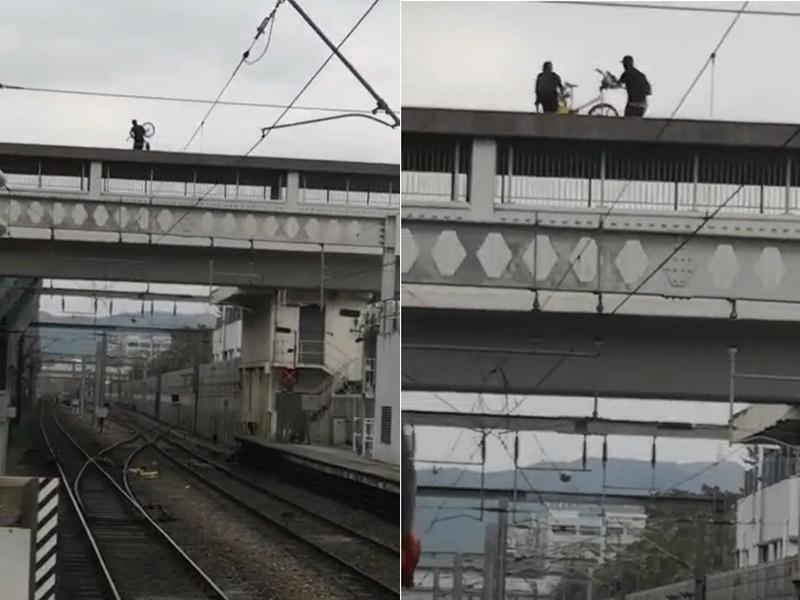 【大三罢】黑衣人上水站天桥掷单车堵路轨 乘客不满落车指骂(片段)
