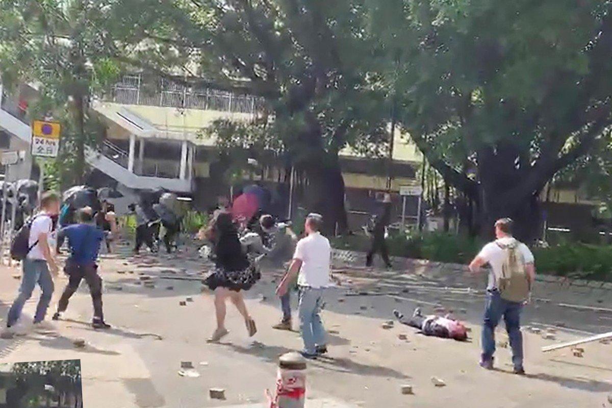 Man, 70, hit on head by brick during Hong Kong clash dies