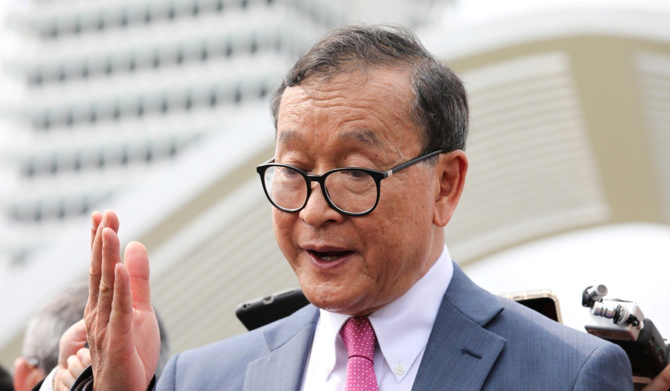 Cambodia's exiled opposition leader Sam Rainsy barred from flying to Indonesia