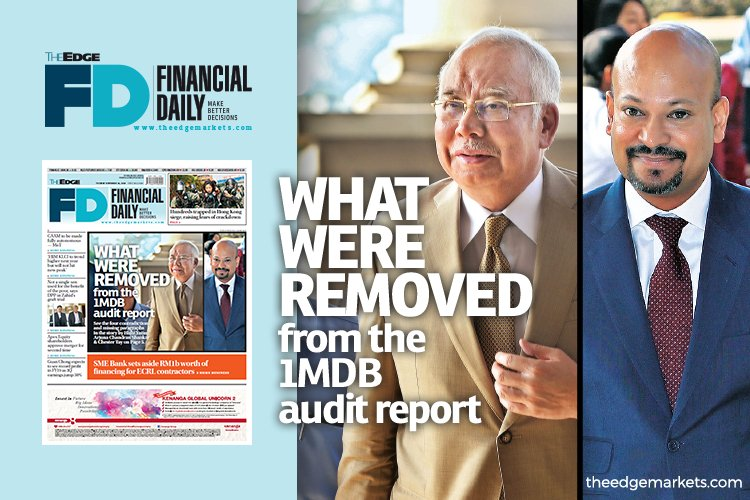 What were removed from the 1MDB audit report