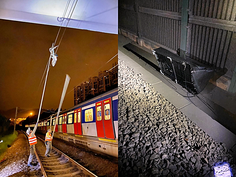 港铁:粉岭站路轨有杂物 单车挂架空电缆