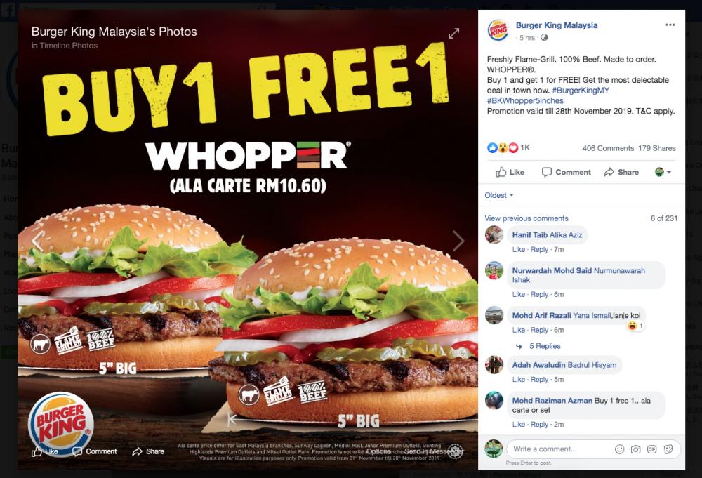 贺国足马来西亚虎打胜仗!Burger King听取民意推出买一送一优惠万勿错过啦!