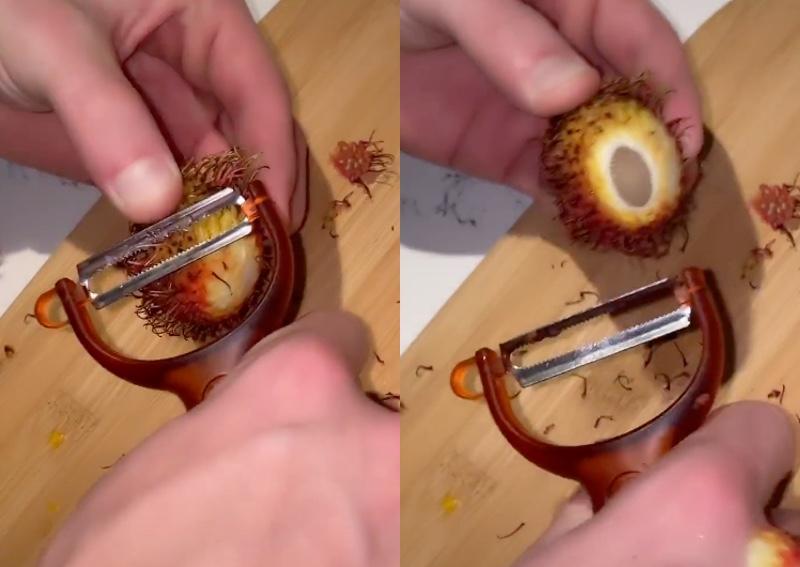 American TikTok user's attempt to get through rambutan with potato peeler triggers Southeast Asians