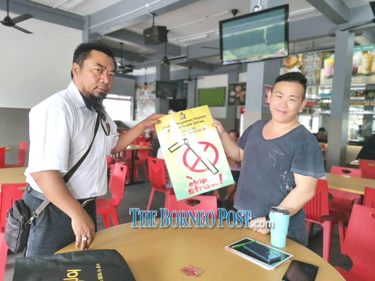 SMC distributes 'Skip Straw!' posters to coffeeshops across Sibu town