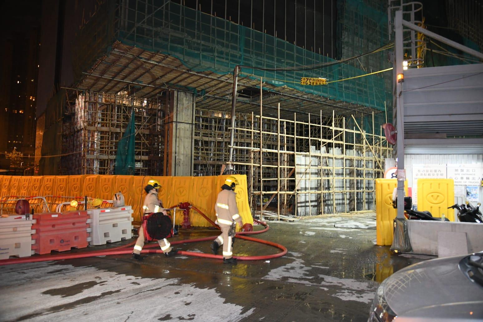 启德新东九龙总区总部地盘起火 疑电掣漏电引起