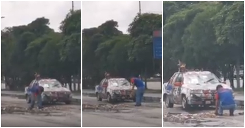 Johor Man Fed Up With Bad Road Conditions, Fills Up Pothole Himself