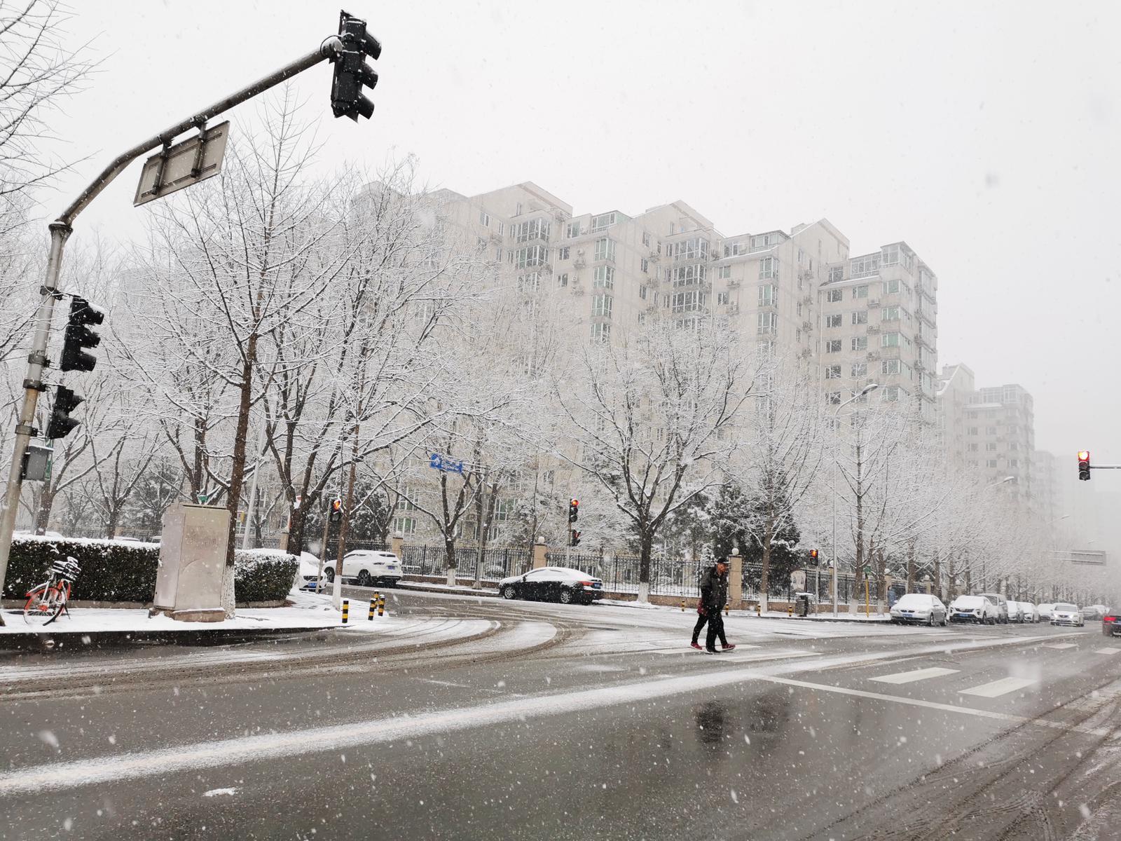 北京入冬第二场降雪 银装素裹