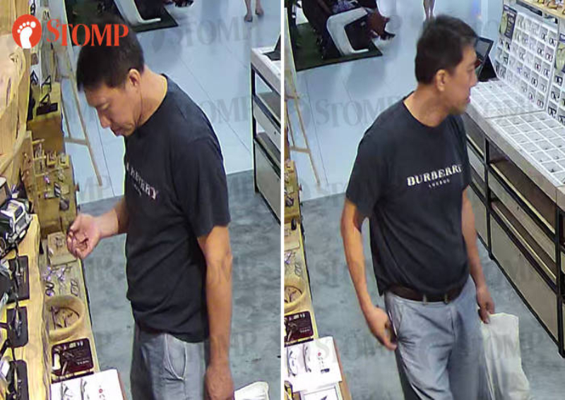 Caught on CCTV: Man using Singapore credit card pockets $460 spectacle frame at Melaka store