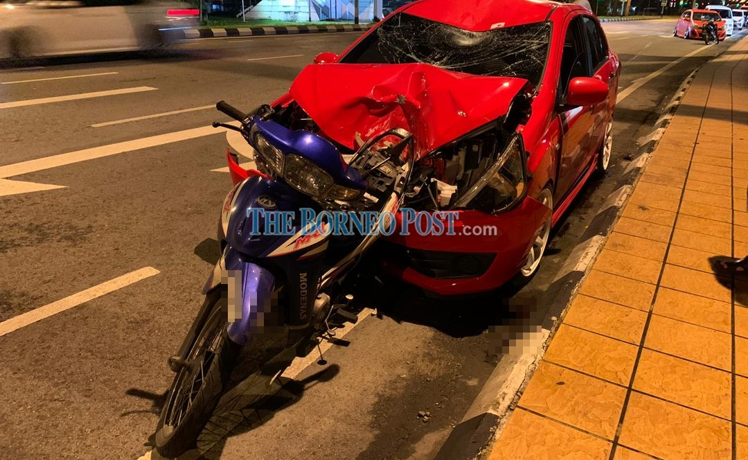 Motorcyclist killed after being rammed from behind by car