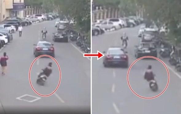 中学生揸电单车S型行走 驶过线被车迎面撞飞