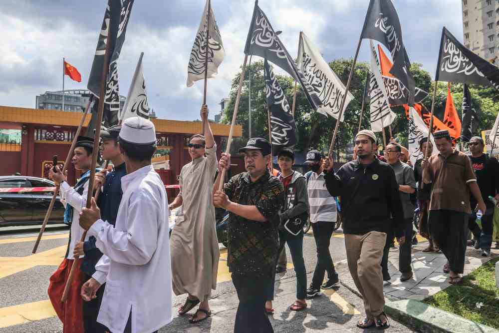 In KL, hundreds of Muslims protest against China's treatment of Uighurs