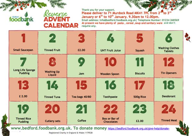 Food bank promotes 'reverse advent calendar' for January to encourage donations