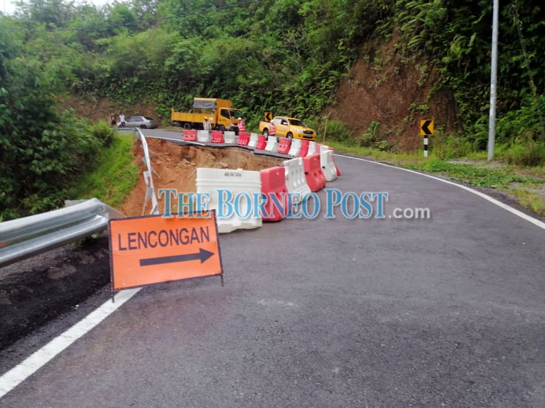 Section of Jalan Kampung Kakas in Kiding partially closed due to landslide