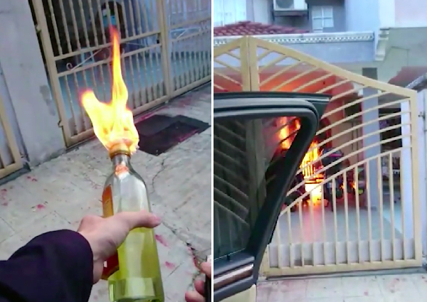 Ah Long in Malaysia records video of himself firebombing home