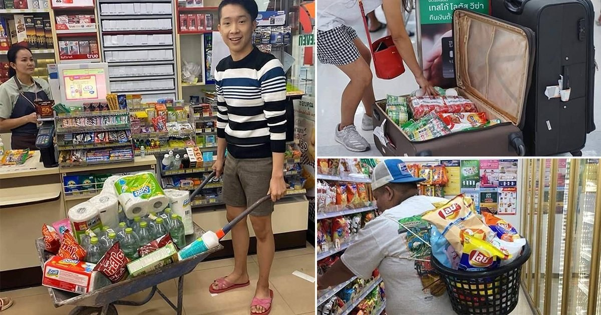 Thais use wheelbarrows, helmets and laundry baskets as shops pull plastic bags