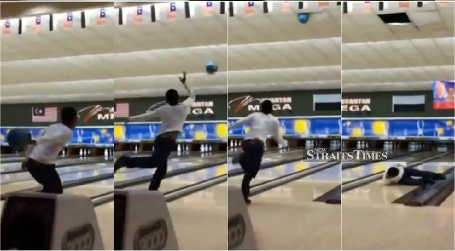 Watch: Amateur bowler launches ball into ceiling of Kuantan bowling alley