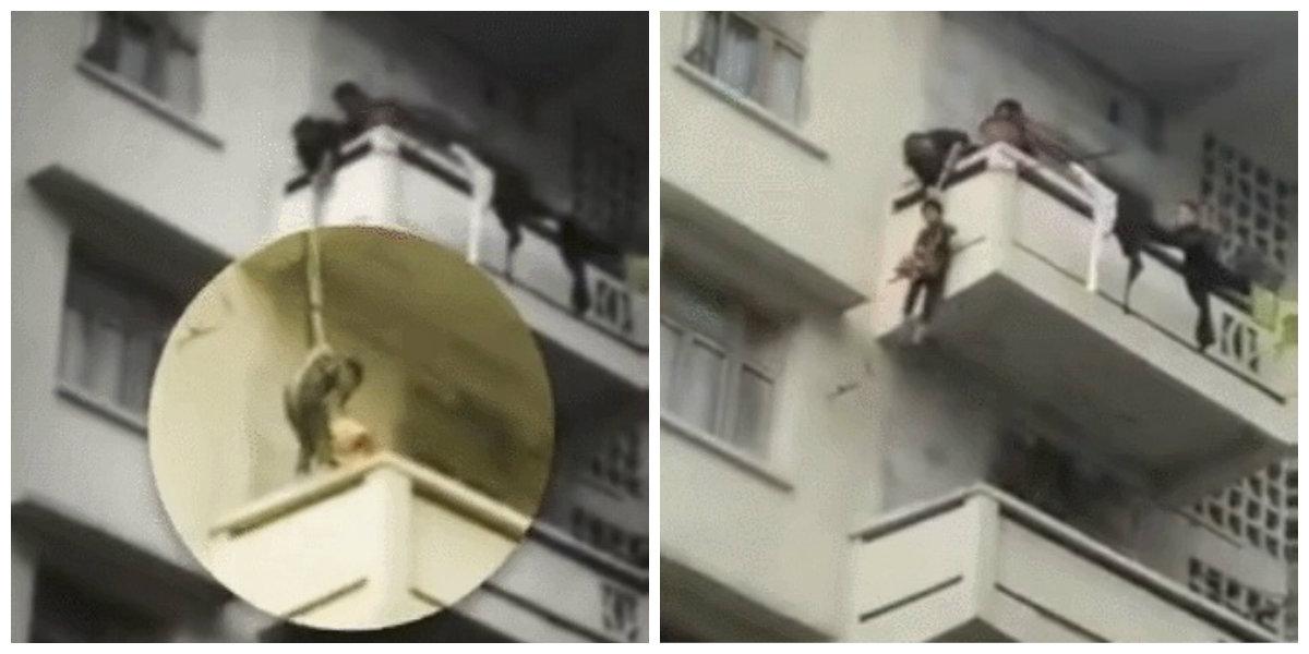 用绳吊七岁孙下楼悬空救猫 邻居喊危险中国四川老妇不理
