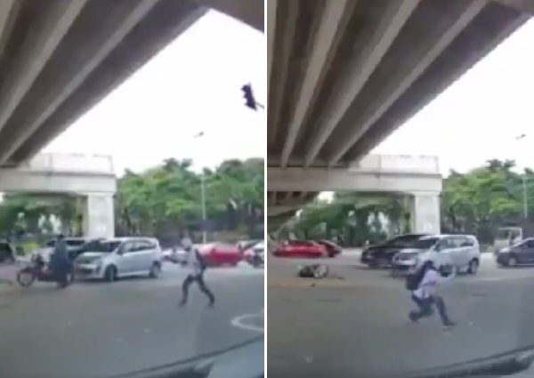Malaysians puzzled by motorcyclist doing silat after car crash