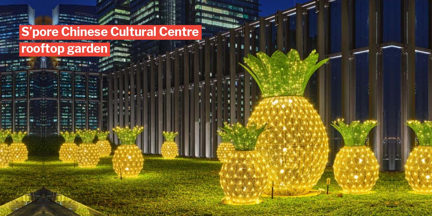 Huge pineapples conquer tanjong pagar rooftop garden, we wish we can roll them for extra 'huat'