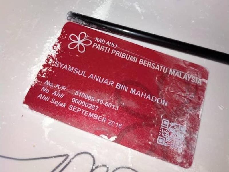 Bersatu man says lost card pictured in 'drug-cutting' months ago