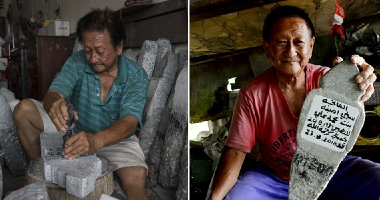 M'sian Carver Made Headstones for 40 Years By Hand, Can Even Write Jawi For Muslim Graves