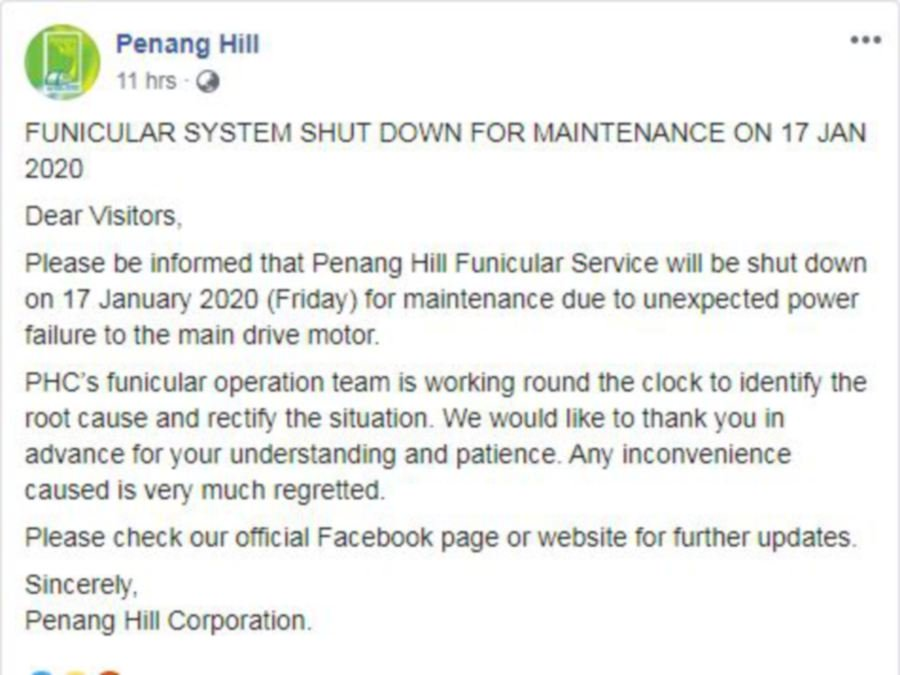Penang Hill funicular train service disrupted again