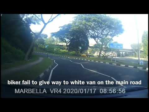 woodland into bke biker fail to give way to white van on the main road