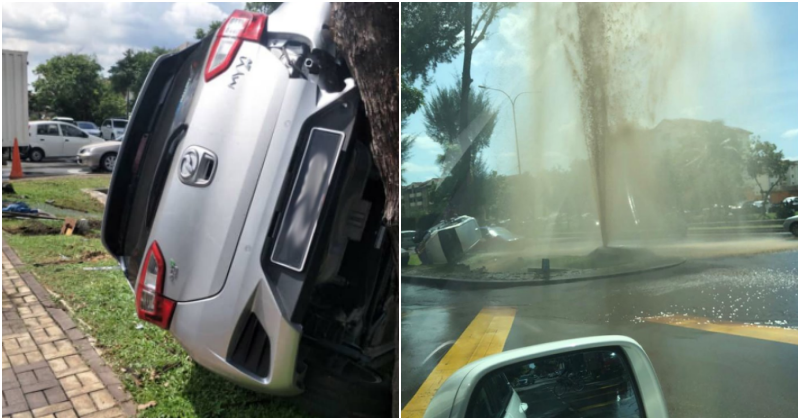 Water Disruption Expected In Subang Jaya After Car Accident Caused Major Pipe Burst In Area