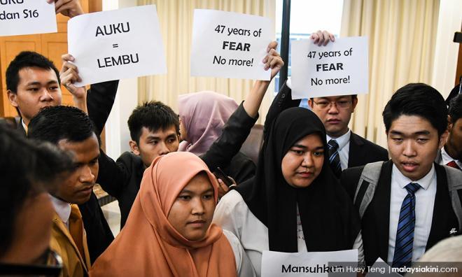 不满学生代表遭剔除,新青年抨首相无意废大专法