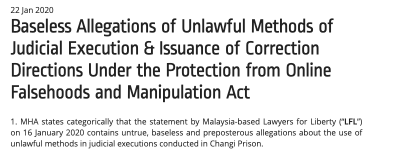 MHA issues POFMA correction order to Malaysia's Lawyers for Liberty, Yahoo Singapore, TOC & Kirsten Han over claims of 'brutal' executions