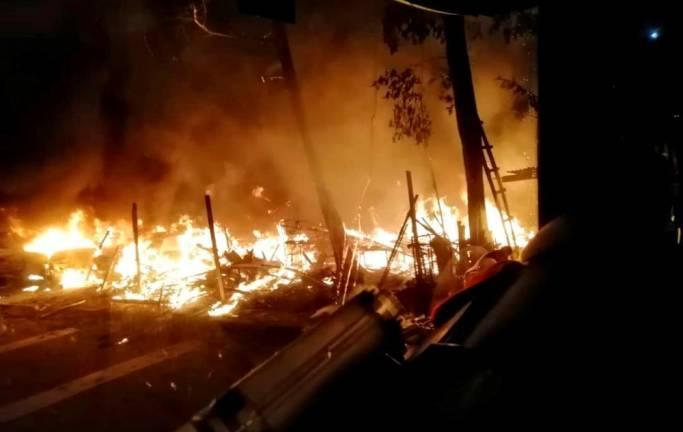 Nine vehicles destroyed in fire in Johor Baru