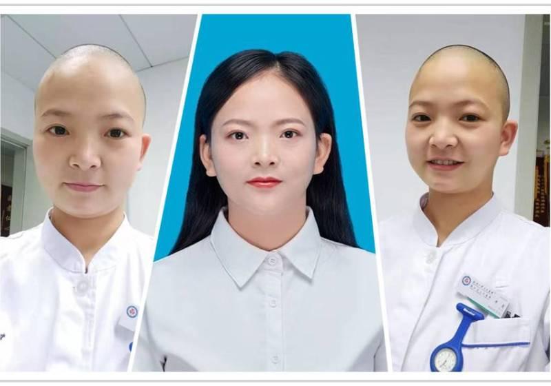 Wuhan nurse shaves head to aid her work against virus