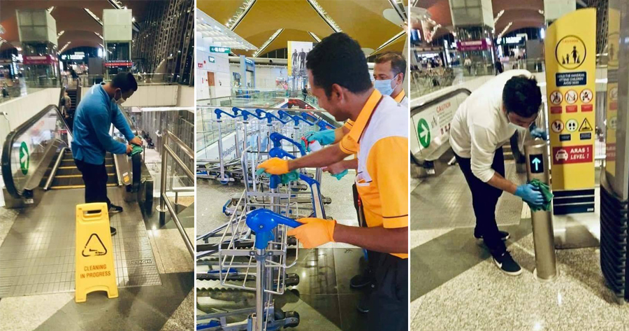Real-Life Heroes: M'sian Cleaners Work Tirelessly to Wipe Surfaces at Airports to Keep Virus at Bay