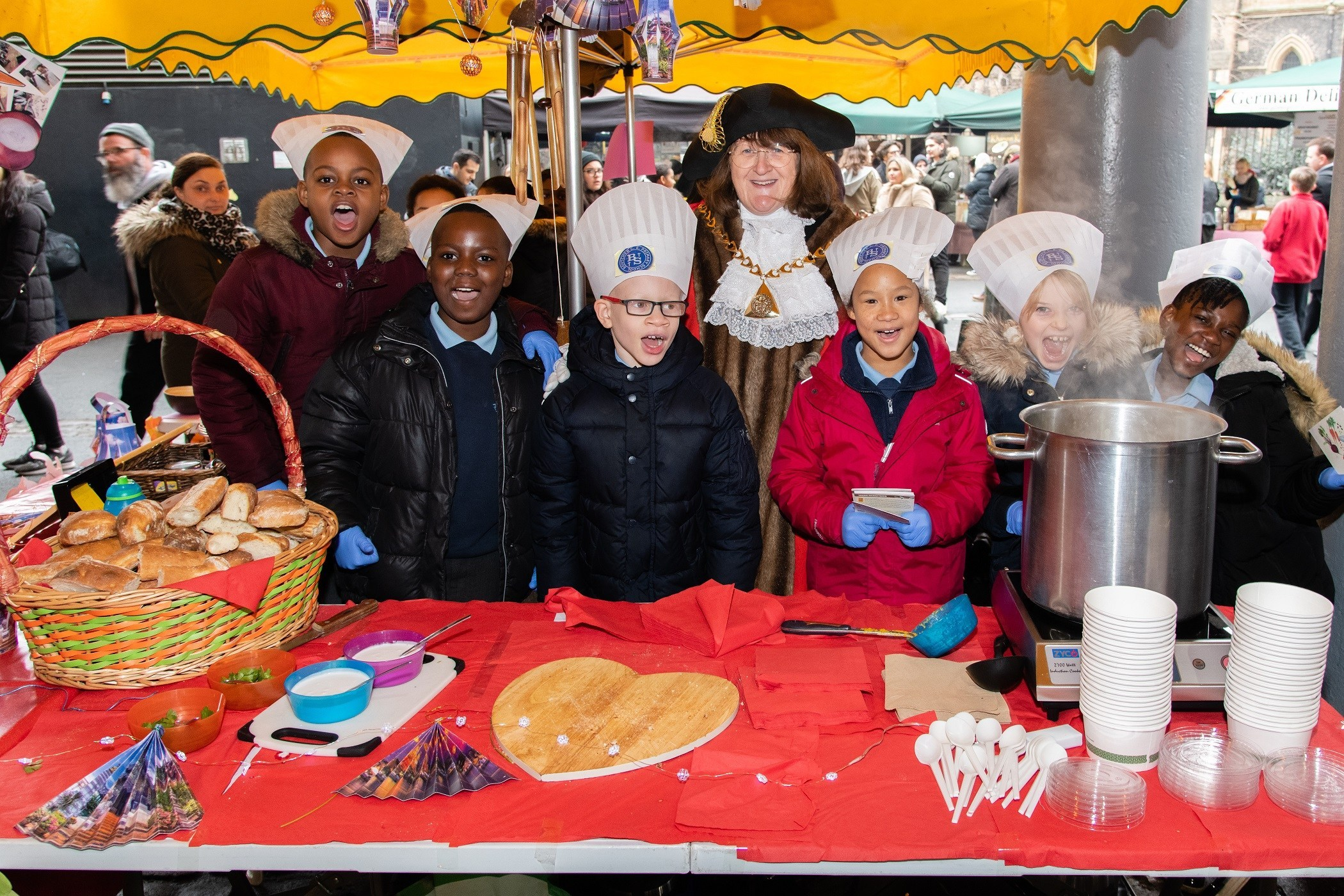 School kids take over Borough Market and cook up waste food to highlight food poverty