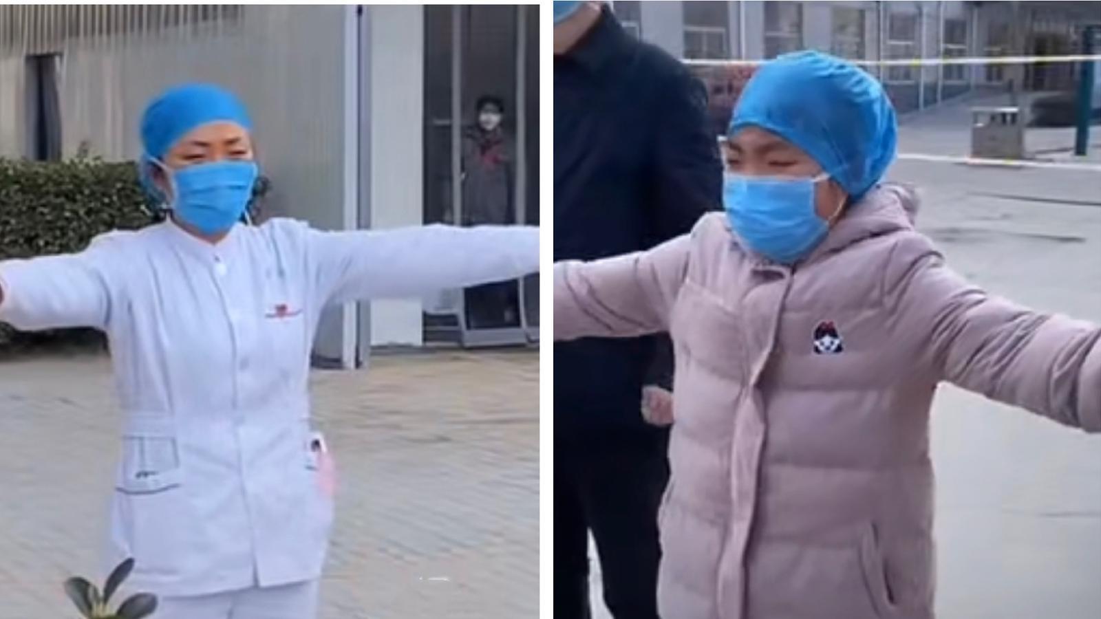 """【新冠肺炎】护士妈妈医院抗炎 女童隔空拥抱""""我好想你"""""""