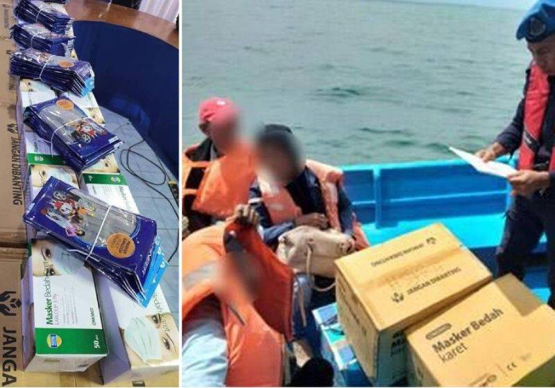 Marine cops foil attempt to smuggle face masks into Sabah from Indonesia