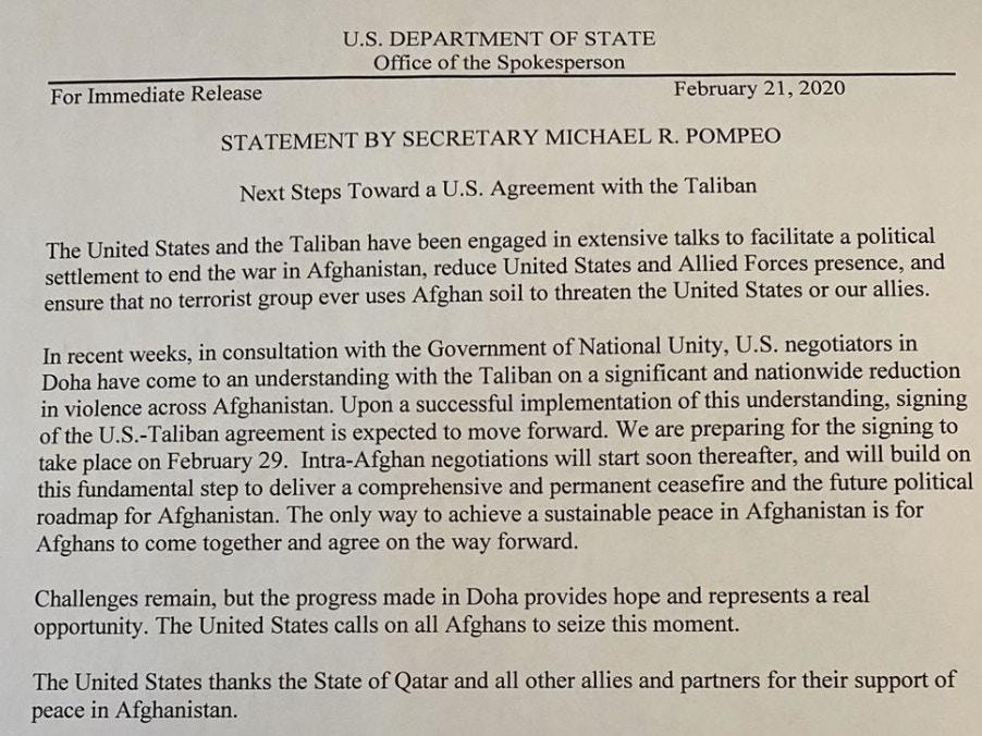 美国宣布于2月29日与塔利班签署和平协议(图)