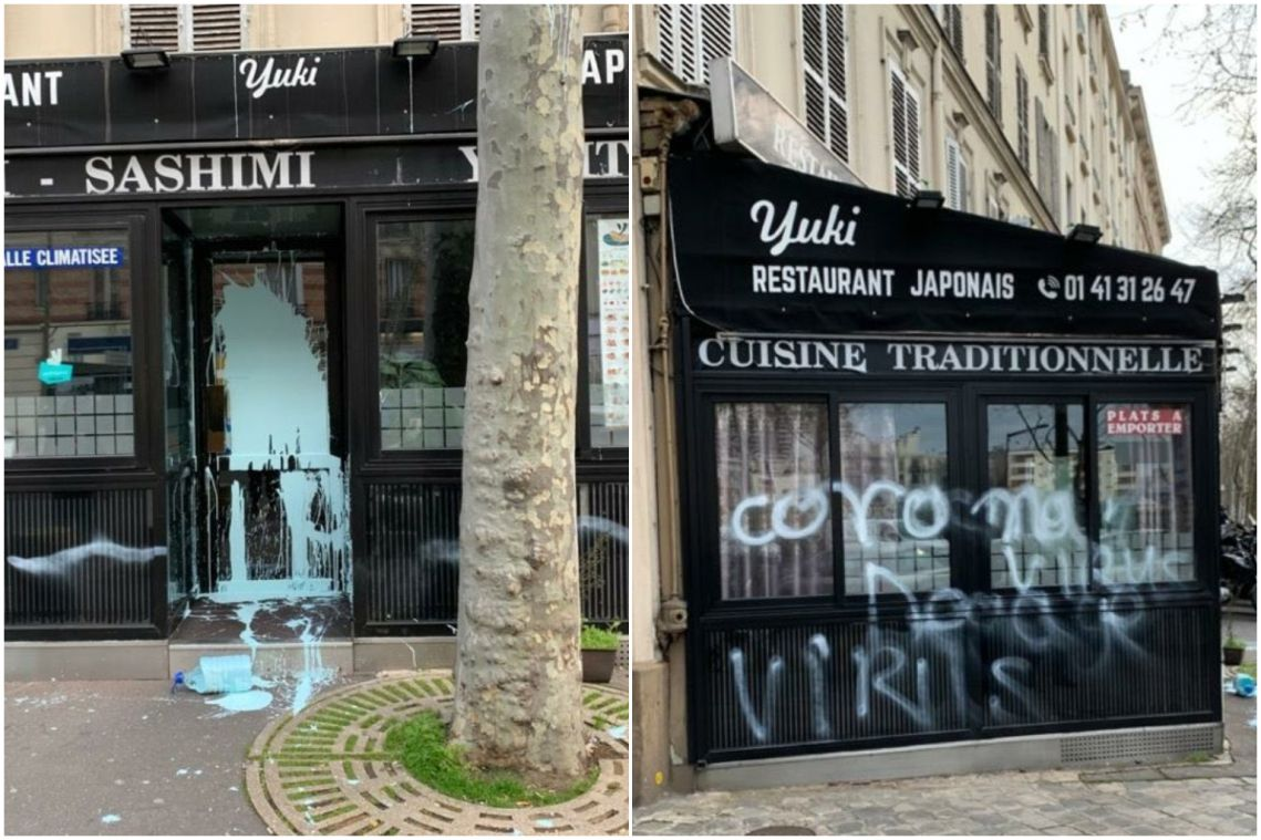 'Coronavirus' sprayed on Japanese restaurant in Paris