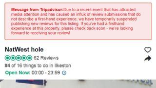 Ilkeston NatWest Hole: TripAdvisor halts spoof reviews