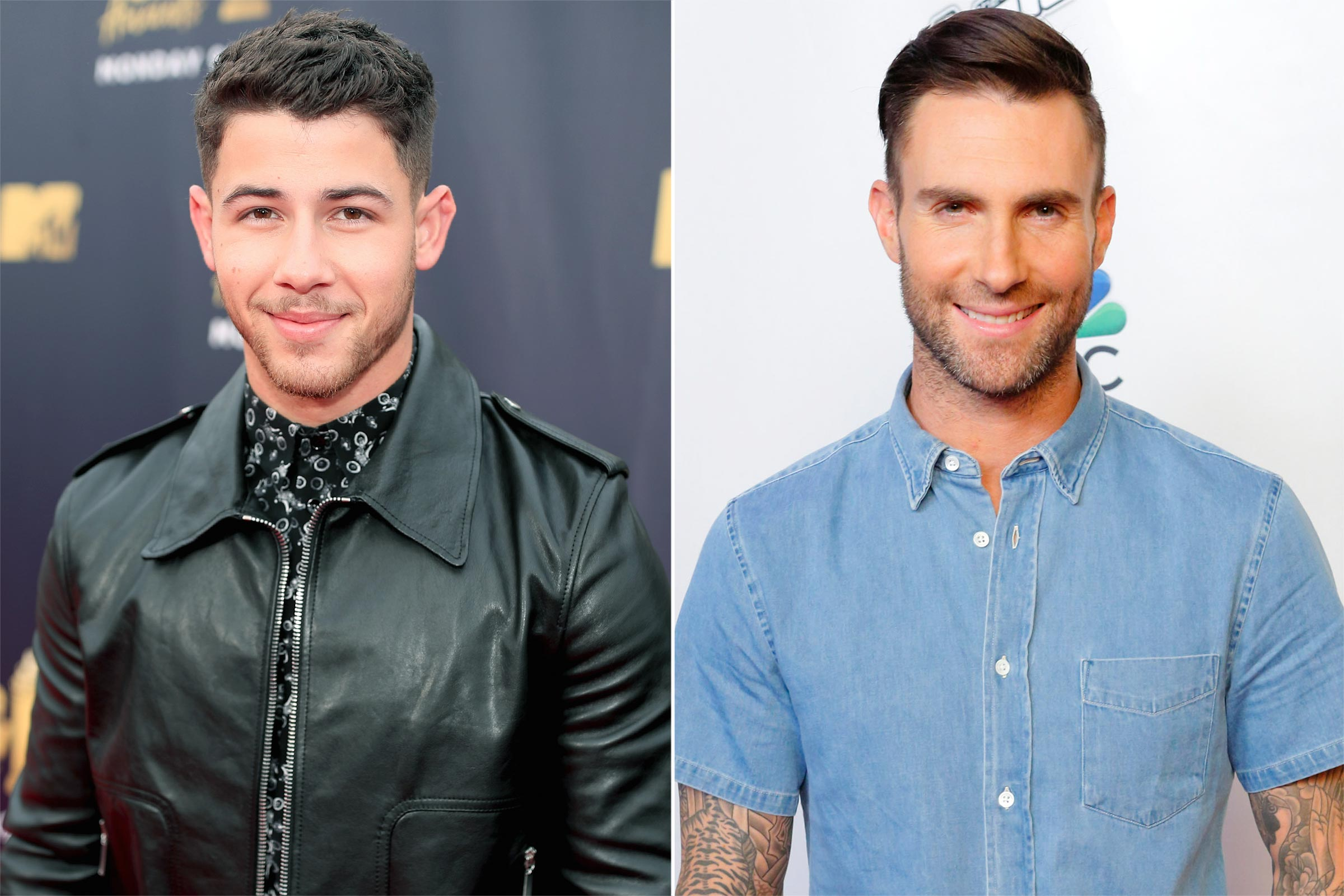 Adam Levine Trolled Nick Jonas for His Spinach-Filled Teeth Immediately After Grammys Performance