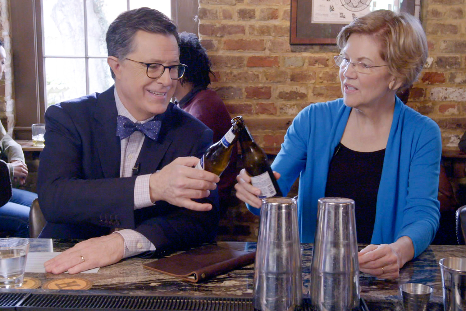 Elizabeth Warren Plays Guess-the-Billionaire (and Zings Mark Zuckerberg) with Stephen Colbert