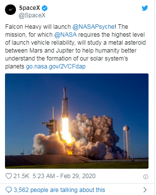 SpaceX又获得NASA一份1.17亿美元发射合同,探索小行星Psyche