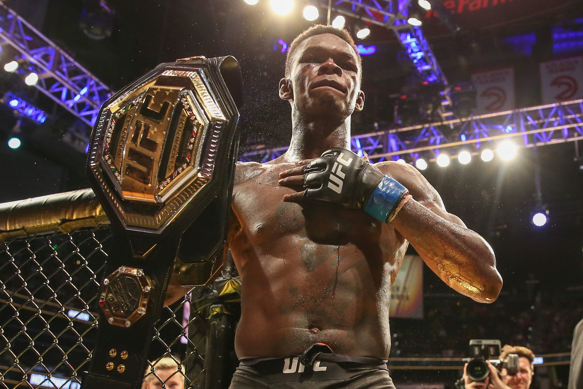 Israel Adesanya, a flashy kickboxer about to make his first title defense is the UFC's most exciting champion since Conor McGregor