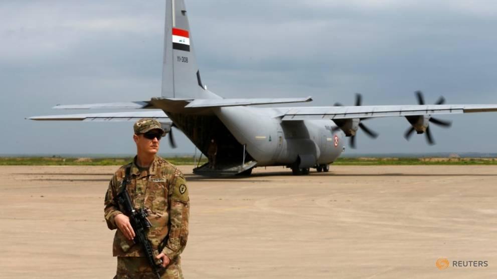 US-led forces depart Iraqi military base near Mosul in drawdown