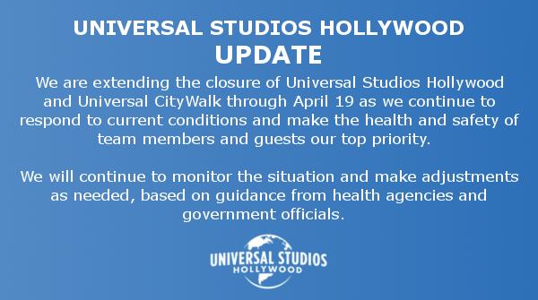 好莱坞环球影城为应对疫情将暂停营业时间延长至4月19日