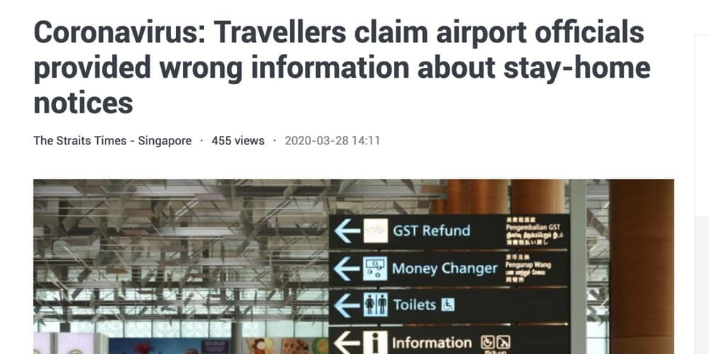 "ST takes down article on travellers' accounts regarding purportedly ""erroneous"" information from airport officials on start of Stay-Home Notice, reuploads to emphasise ICA statement"