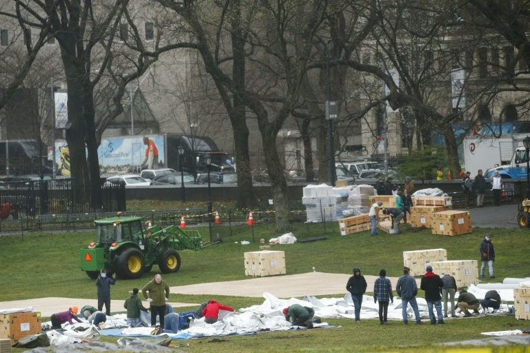 Field hospital set up in New York's central park